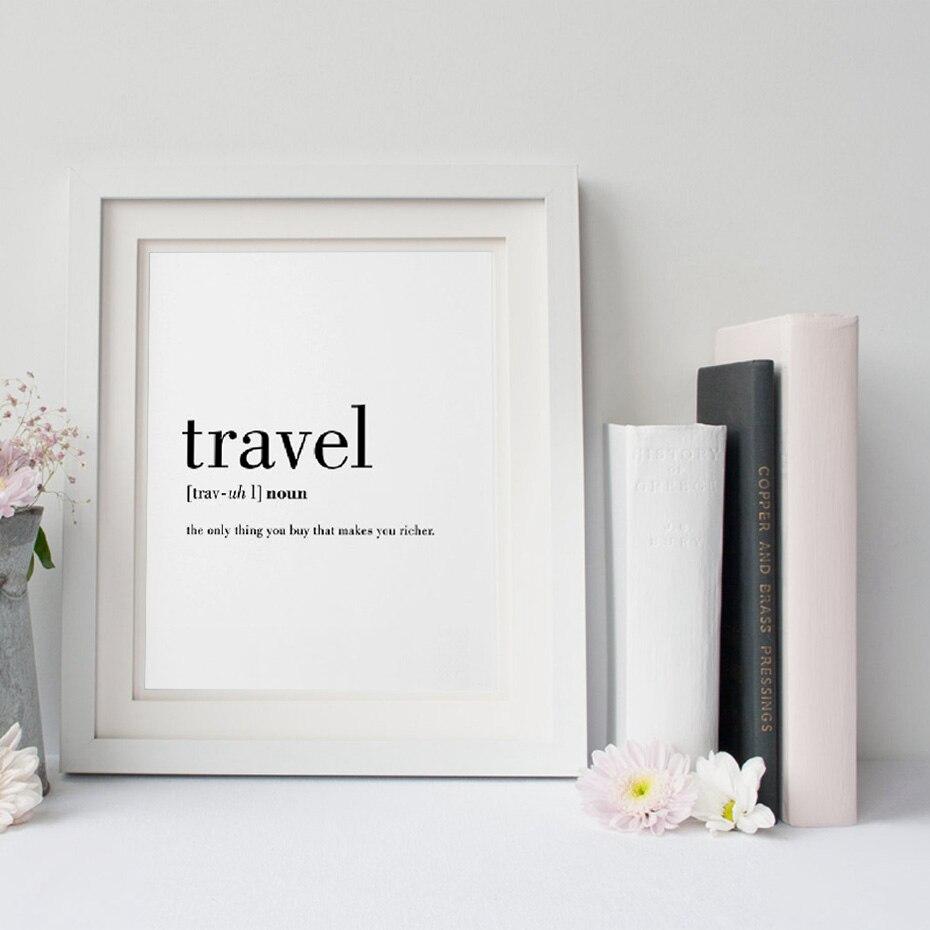 Definição de viagem citação pintura em tela minimalista preto branco palavra cartaz impressão nordic parede arte imagem sala estar decoração casa
