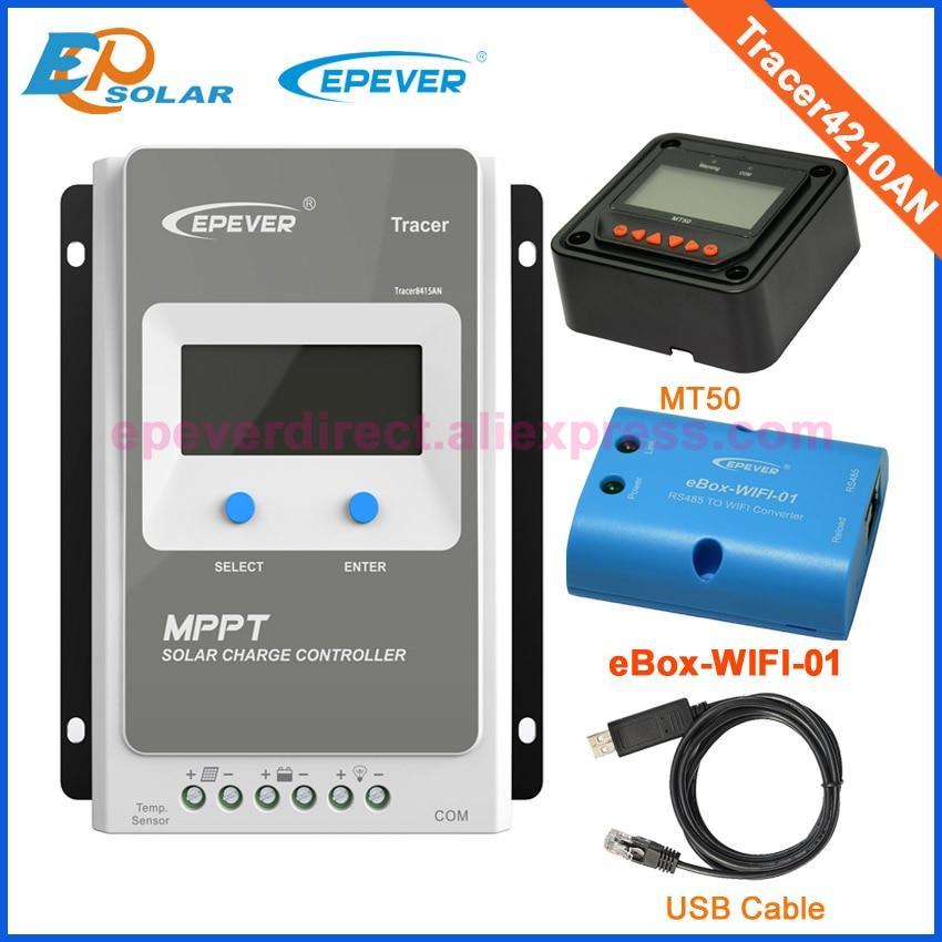 Epever mppt controlador de carga solar Tracer4210AN 10A panel solar mppt con función MT50 wifi y cable USB conectar PC 24v