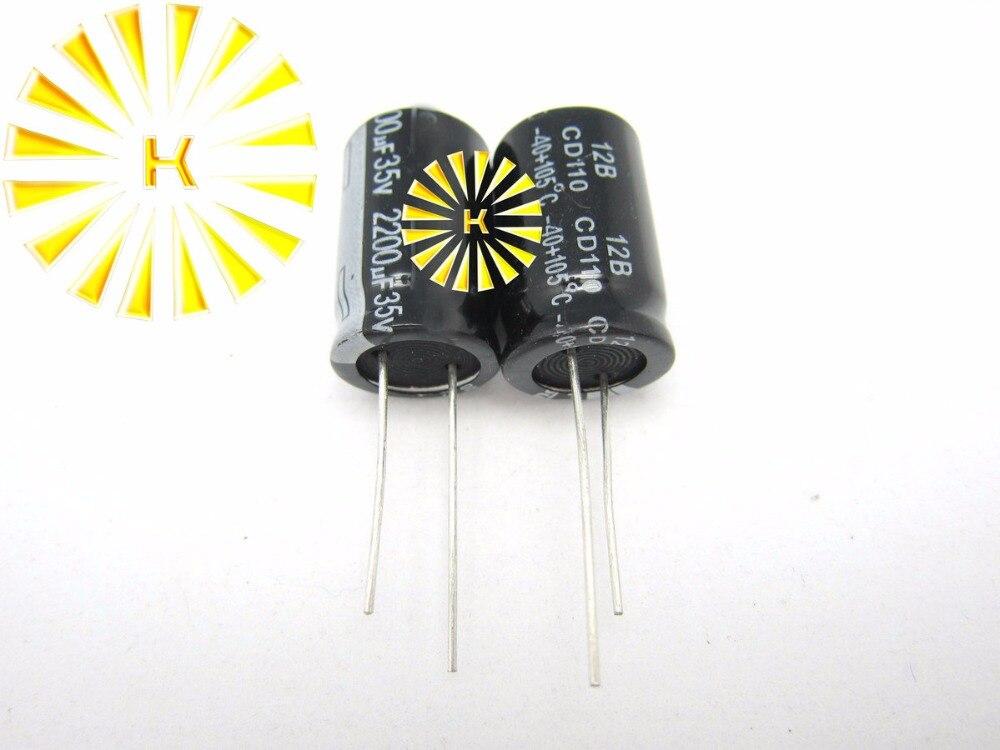 100 piezas X 100% nuevo 2200 UF 35 V 16X25 condensador electrolítico de aluminio