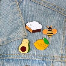 Karikatür Sevimli Broş Limon Avokado Arı Kedi Emaye Pin shshd Kadın Sırt Çantası Rozetleri Ceketler Yaka Pin Moda Çocuklar Takı hediye