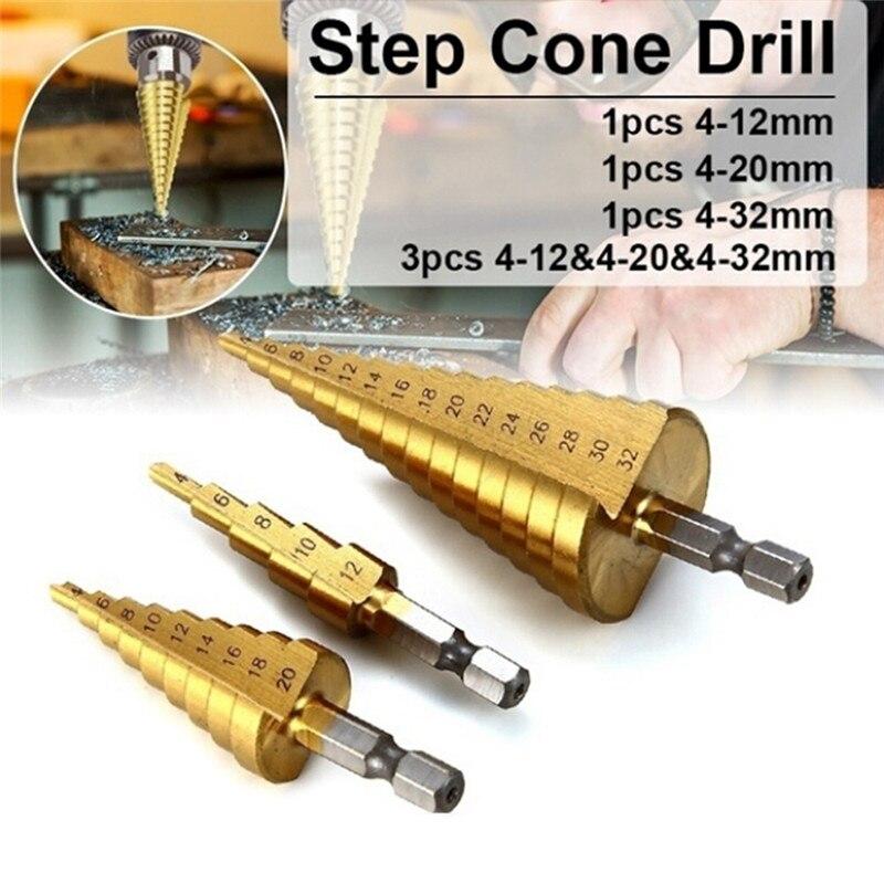 Step Drill Bit Spiral Flute HSS Steel Cone Titanium Mini Drill Bit Tool Set Hole Cutter 4-12/20/32mm