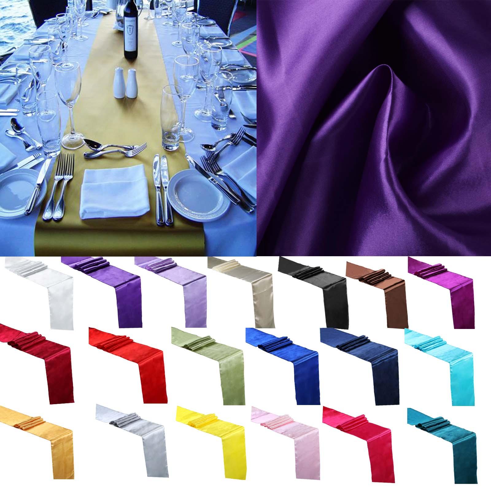5pcs 30cm * 275 centímetros de Cetim pano de Tabela Wedding Party Runners Decoração Evento Abastecimento Tecido de Cetim Cadeira Faixa Arco tampa de tabela Toalha de Mesa