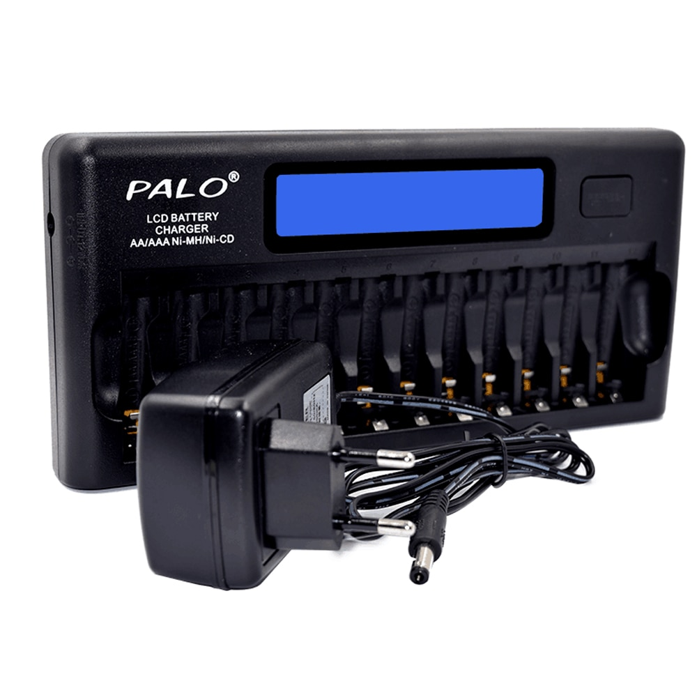 PALO PL-NC30, интеллектуальное зарядное устройство, ЖК-дисплей, быстрое умное зарядное устройство, 12 отделений для батарей 1,2 В Ni-MH Ni-CD AAA AA