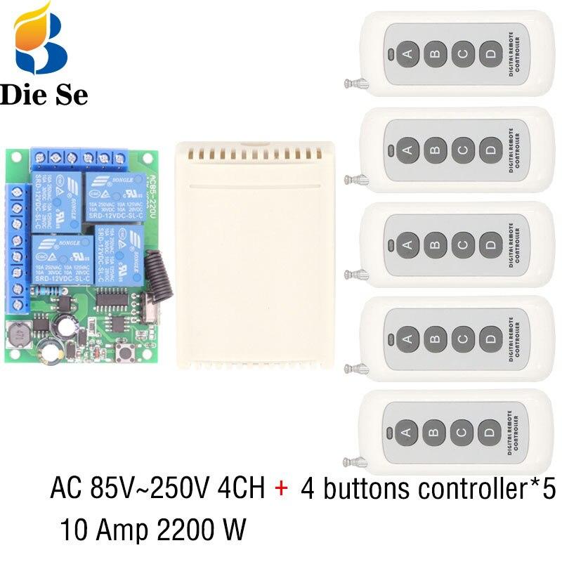 433MHz Universal Remote Control 110V 220V 250V 2200W 4CH Relay Receiver Module 4 Button Remote Control Garage door light Switch