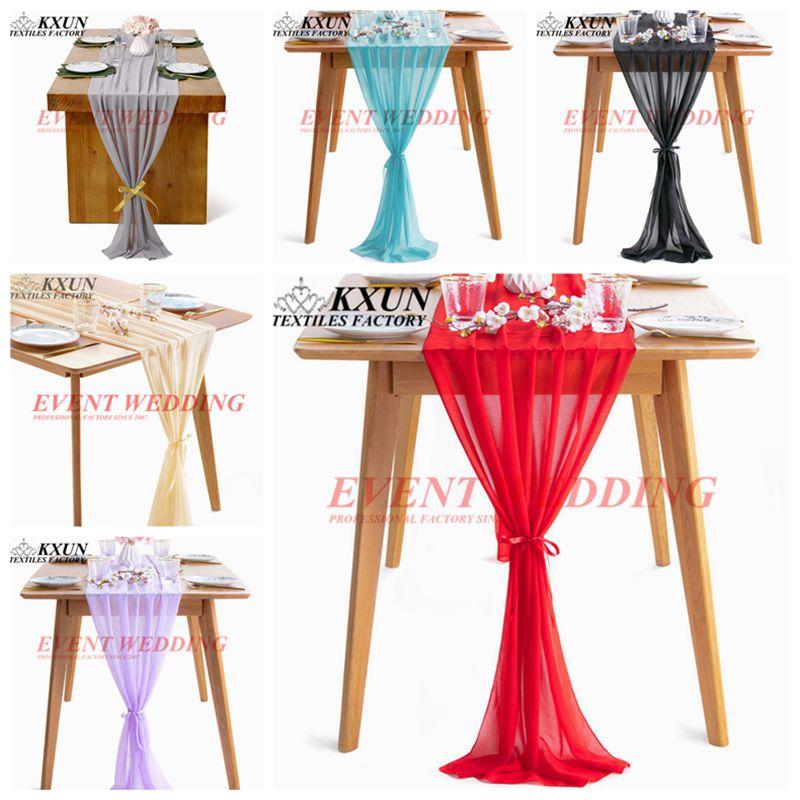 مفرش طاولة شيفون ، مفرش مائدة 35 × 275 سنتيمتر ، مع ربطة عنق ، لتزيين الحفلات والفنادق