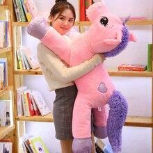 60-110cm gigante tamanho unicórnio brinquedos de pelúcia bonito rosa branco cavalo macio boneca animais de pelúcia grandes brinquedos para crianças presente de aniversário da menina