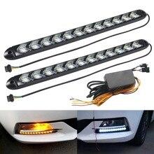 Luces de circulación diurna DRL flexibles LED señal de giro Blanco/ámbar Switchback Streamer dinámico Caballero Rider tira de luz faro