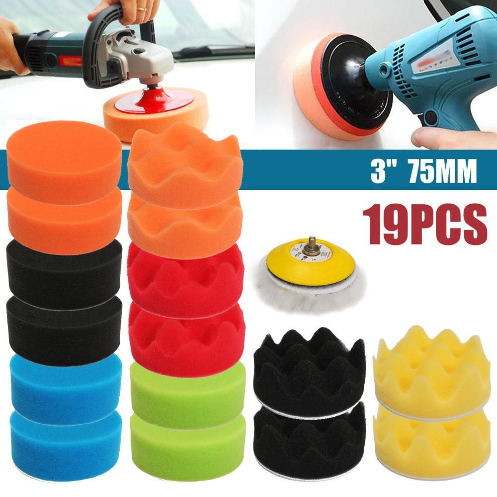 WENXING High Quality 18PCS 3inch 80mm Sponge Buff Buffing Polishing Pad Kit For Car Polisher 5/16 Thread