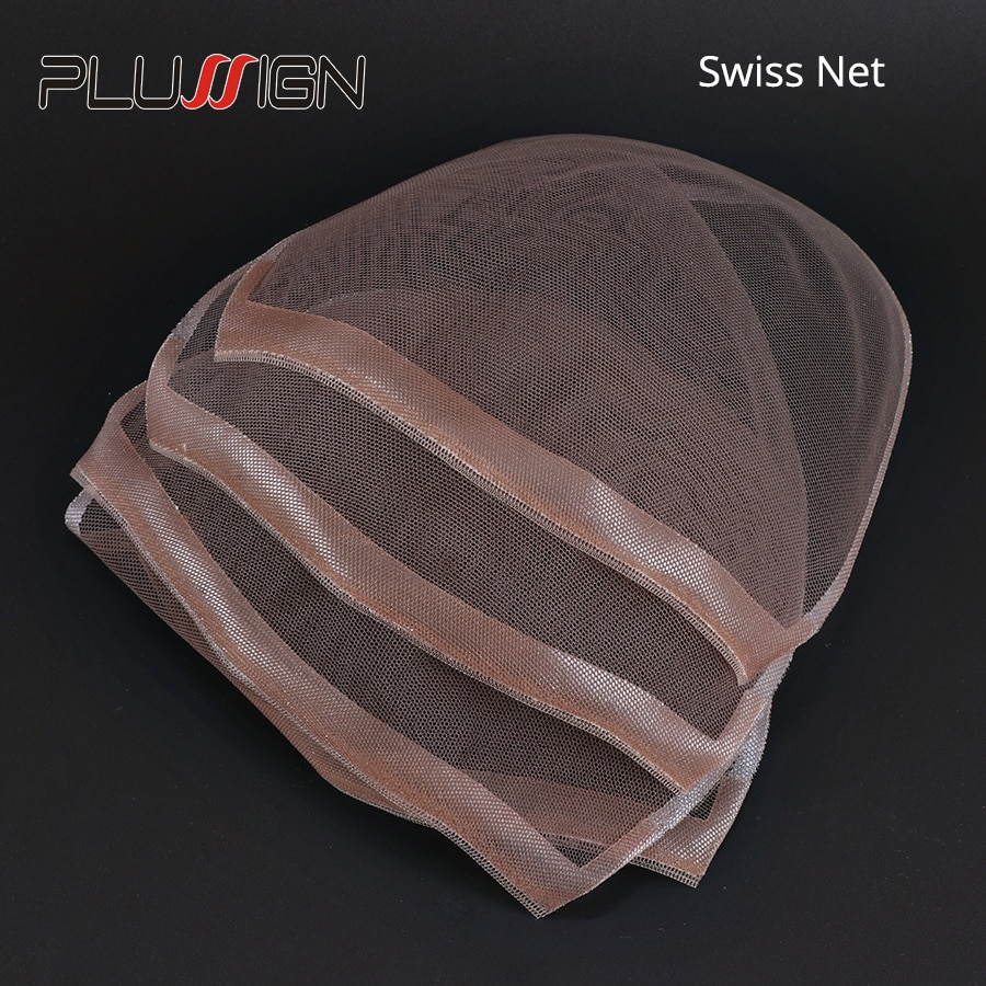 Plussign 1Pcs Swiss Lace Closure Frontal Base Brown Hand-Woven Hair Net Piece For Making Lace Wigs Cap Closure Wig Accessory