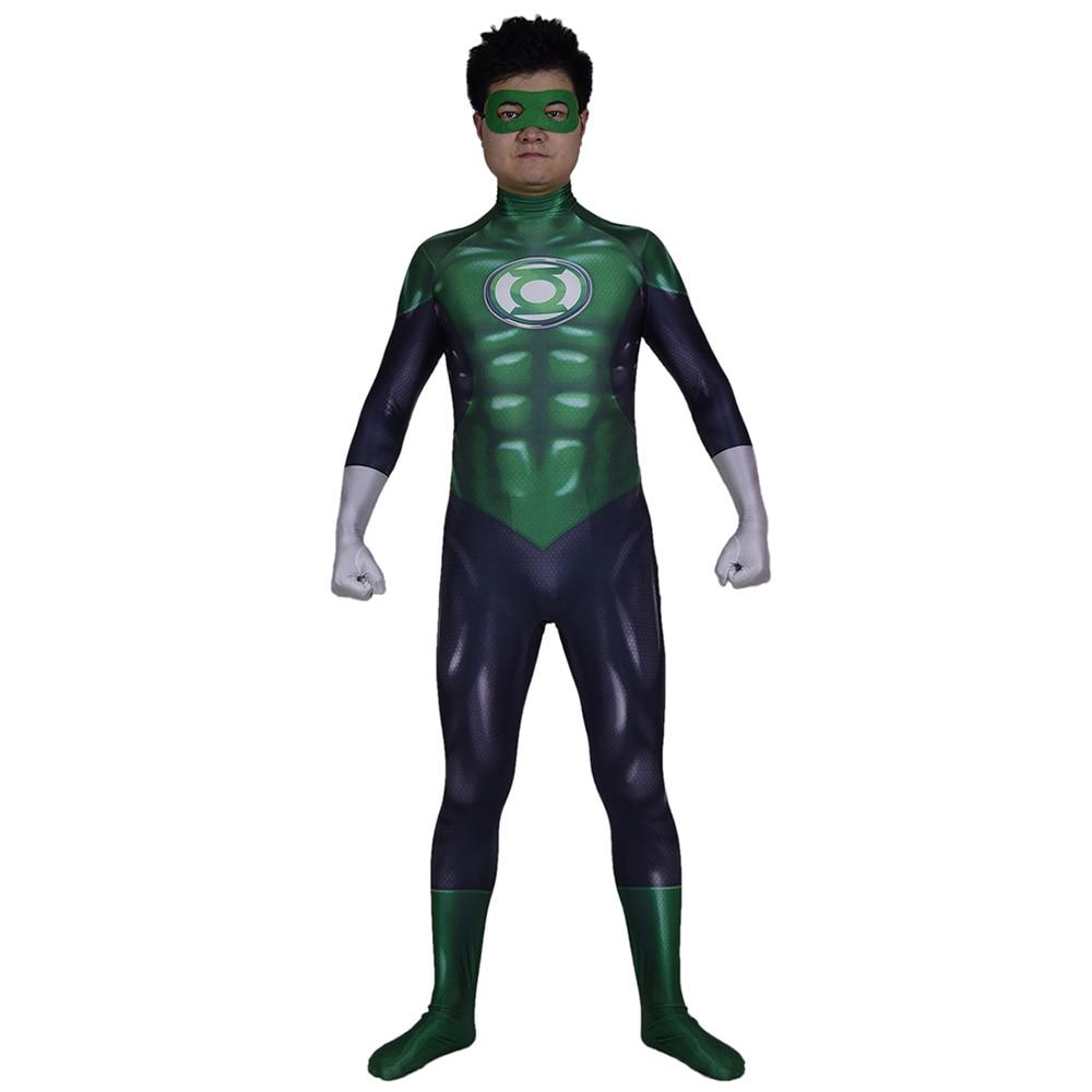 Disfraz de superhéroe Linterna Verde para Cosplay Zentai adultos hombres chicos 3D impreso elástico etapa ropa Halloween traje mono