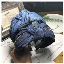 Модный синий ободок для волос для женщин, зимние аксессуары для волос, джинсовая повязка на голову с металлической молнией, украшение для волос, тюрбан для взрослых
