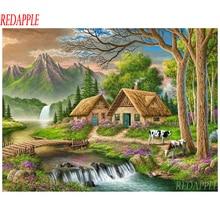 5d DIY diamond painting cross stitch kits Nature Village House picture of rhinestone diamond embroidery mosaic cow river decor