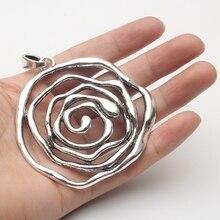 5 unités antique argent grand ROSE fleur collier pendentif bijoux trouver fournisseurs D-3-98