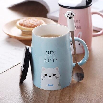 Sevimli kupa için severler fincan seramik yaratıcı ofis içme bardağı beyaz kahve fincanı kahvaltı fincan