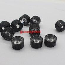 10pcs 5/8/15/25/30/45/60/90/120 degrees LED Lens With Black Holder For 1W 3W 5W High Power LED Lamp Light