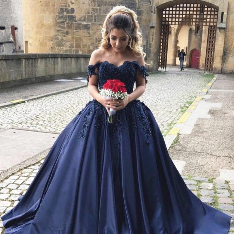 Navy Blue Evening Dresses 2019 Ball Gown Sweetheart Lace Appliques Long Formal Vestido Longo Festa