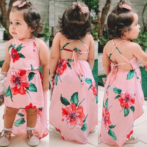 2019 kleinkind Kinder Baby Mädchen Sommer Nette Blume Backless Partei Pageant Kleid Sommerkleid