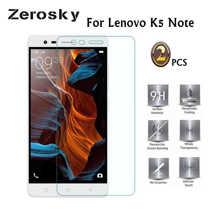 Zerosky 2 uds para Lenovo K5 Nota de vidrio templado Protector de pantalla para Lenovo K5 Nota de vidrio para Lenovo Vibe K5 nota A7020 película