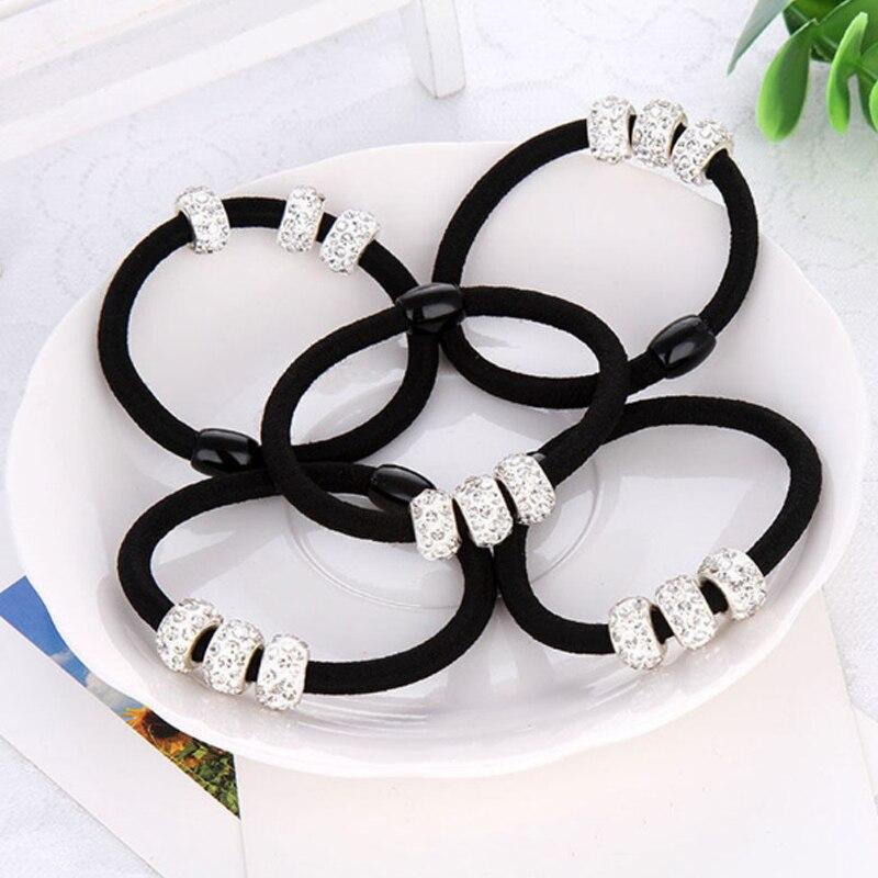 Корейские три полностью хрустальные аксессуары для волос для женщин, черные эластичные резинки для волос, милые резинки для волос, держатель для конского хвоста, галстук