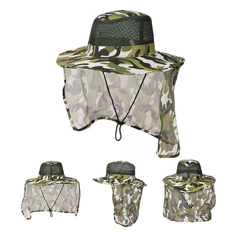 Camuflaje pesca senderismo exterior cara sol protector de cuello cubierta gorra con visera ancha sombrero de caza militar
