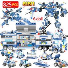 Police Trucks Car Helicopter Boat Building Blocks Kits Compatible City Mobile Police Station Riot Bricks Sets Toys Children Kids