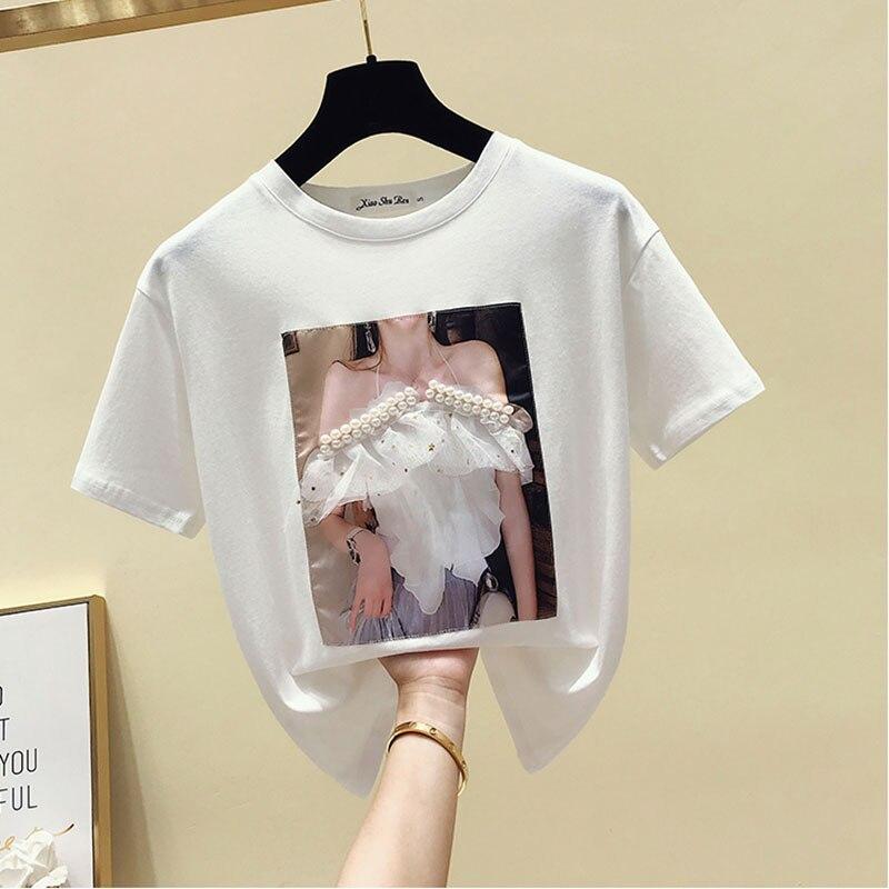 Camisetas sexis de verano con cuentas, camisetas de manga corta de algodón con estampado divertido y cuello redondo para mujer, camisetas de estilo coreano Harajuku para mujer, Tops para mujer 2019