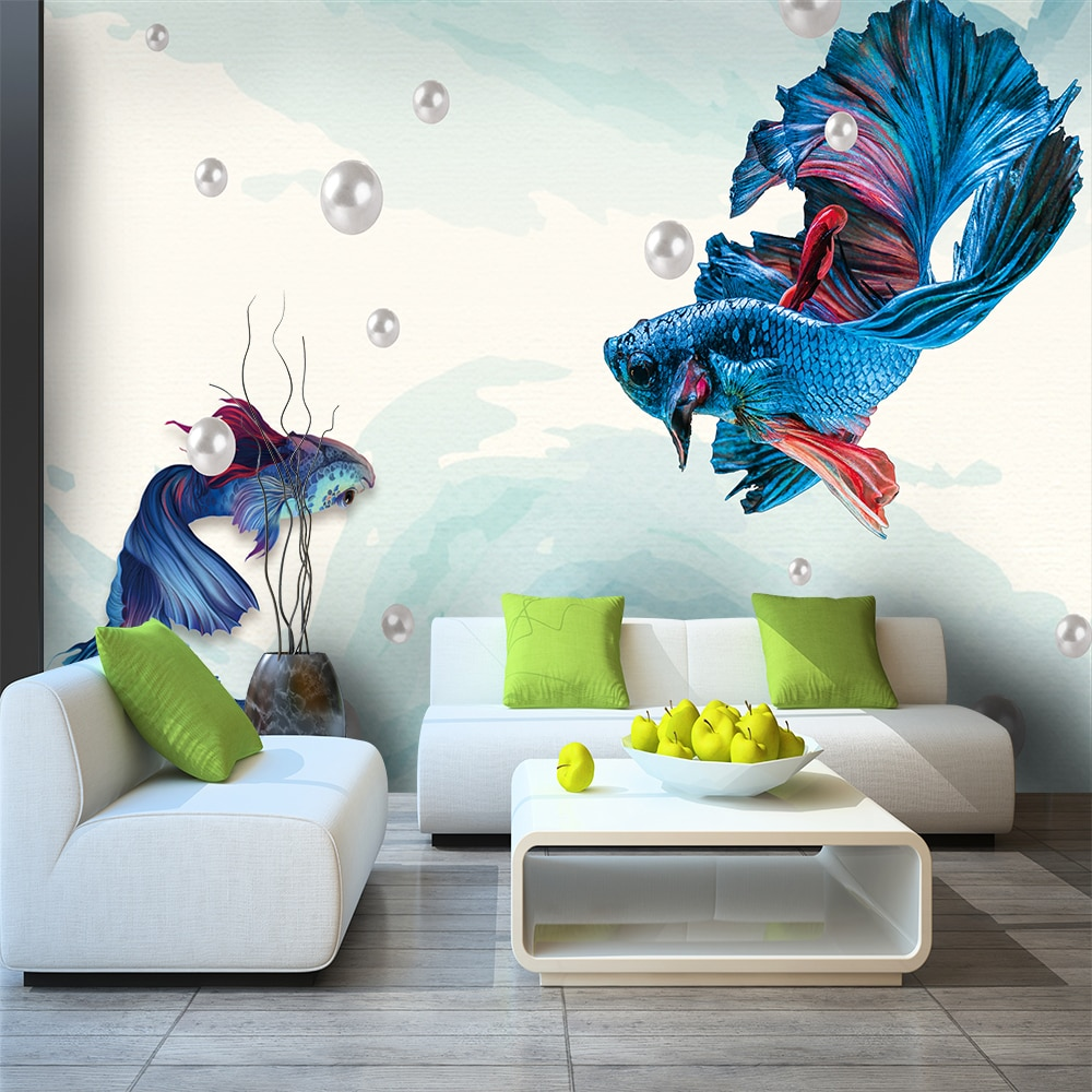 Papel pintado personalizado líneas abstractas azul oscuro joyas Fondo decoración de pared material impermeable