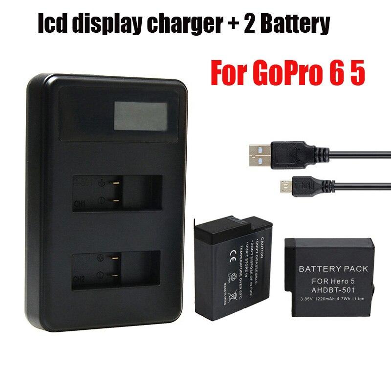 2 sztuk 1220mAh bateria do GoPro 5 6 7 8 + podwójny port ładowarka do kamera sportowa GoPro Hero 5 Hero 6 7 8 czarny akcesoria