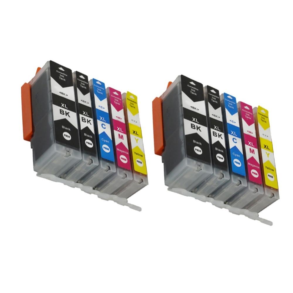 YLC 10pk 5 cores cartucho de tinta compatível para Canon PGI-550 CLI-551 MG5450 IP7250 PGI550 MG5650 MG6650 MG6450 MX725 MX925 MG5550
