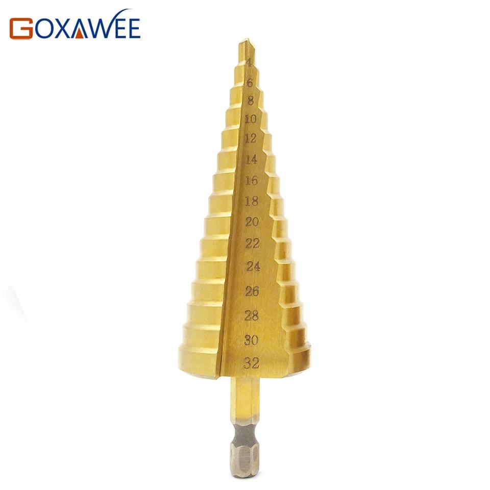 GOXAWEE 3-12/4-12/4-20 Hss ступенчатое Коническое сверло металлическое пластиковое отверстие резец метрический 1/4