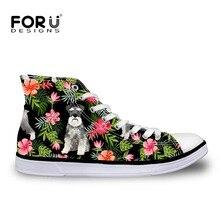 FORUDESIGNS Fashion Kawaii Schnauzer High top Canvas Flat Sneakers Shoes Women Classic Lace-up Vulcanize Shoes Girl Leisure Shoe