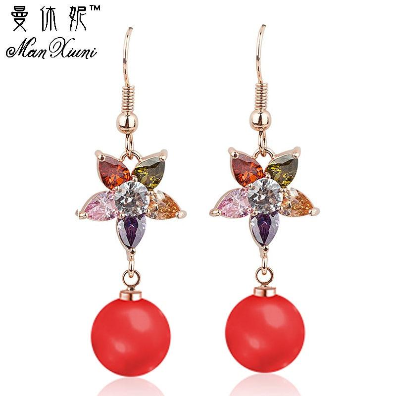 Manxiuni Trinket Luxury Bohemian Wedding Simulated Pearls Earring Women Fashion Dangle Jewelry Multi Color Drop Earrings