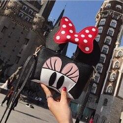Senhora Bonito Crossbody Sacos Sacos de Ombro Animal Dos Desenhos Animados Minnie Mickey Mous Mulheres Orelha Pequena Aba Bolsa de Mini Saco Do Mensageiro Do Partido