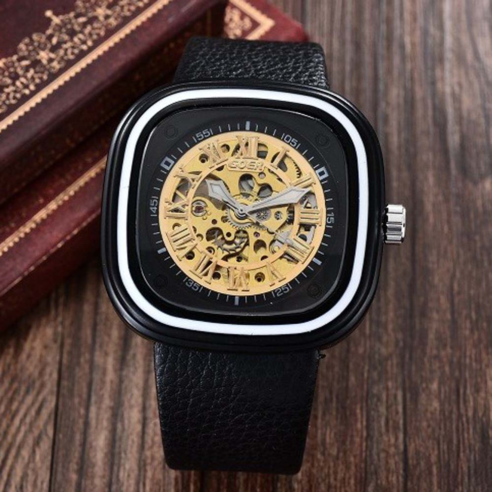 Men Fashion Sports Mechanical Watches PU Leather Strap Square Automatic Mechanical Skeleton Wrist Wa