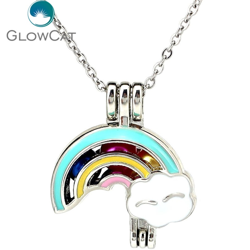K1205 Silver Enamel Beauty Fantasy Rainbow Beads Cage Pendant Stainless Necklace Aroma Essential Oil