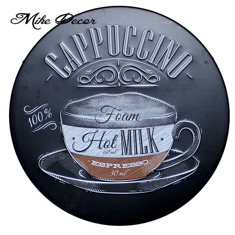 [Mike Decor] CAPPUCCINO signo redondo café pintura regalo Retro artesanía de Metal Hotel café decoración del hogar YA-928 Orden de mezcla