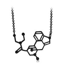 LSD aka acide chimique molécule Structure pendentif colliers BFF amour cadeau pour hommes et femmes noir personnalisé bijoux en gros