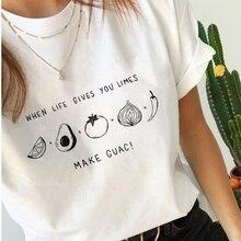 HAHAYULE-JBH 1 Uds camiseta de mujer haz Guac camisetas divertidas verano Causal gráfico camiseta Tumblr ropa de moda Fruite Veget Lemons