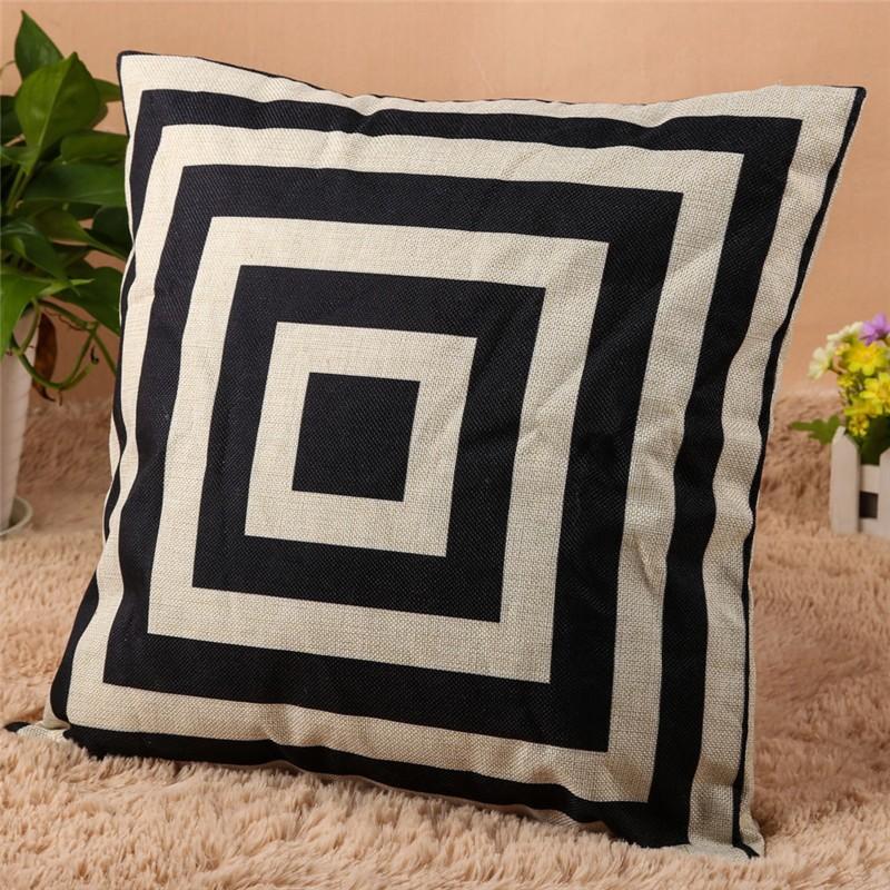 4 Types 45*45cm Vintage Fashion Cotton Linen Cushion Cover Throw Pillow Case Sofa Car Decor Cushion Cover 4