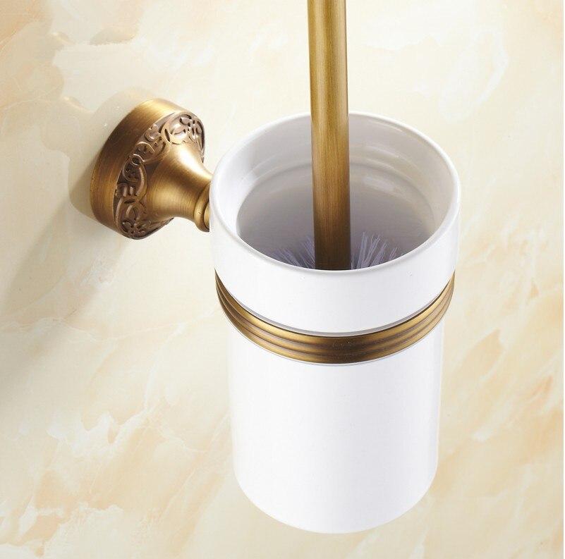 إكسسوارات حمام على الطراز الأوروبي ، نحت نحاسي عتيق ، حامل فرشاة المرحاض ومجموعة فرش المرحاض ، المنتجات المنزلية