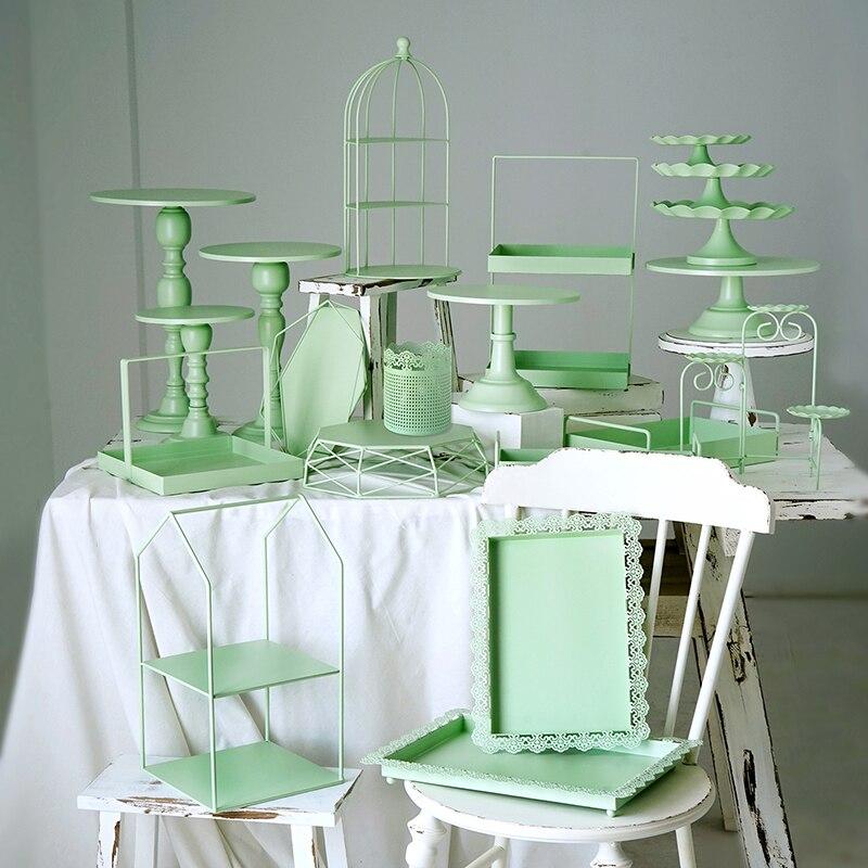 SWEETGO pastel verde soporte bandejas para cupcakes pastel herramientas de decoración fiesta mesa de postre proveedores perfume hacer de almacenamiento de