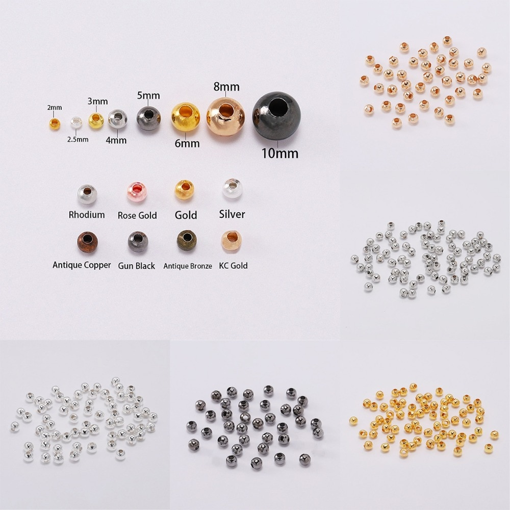 aliexpress.com - 30-300Pcs Gold/ Rose Gold Metal Beads Smooth Ball Spacer Beads Supplies For Jewelry Making Accessories DIY Jewelry Findings
