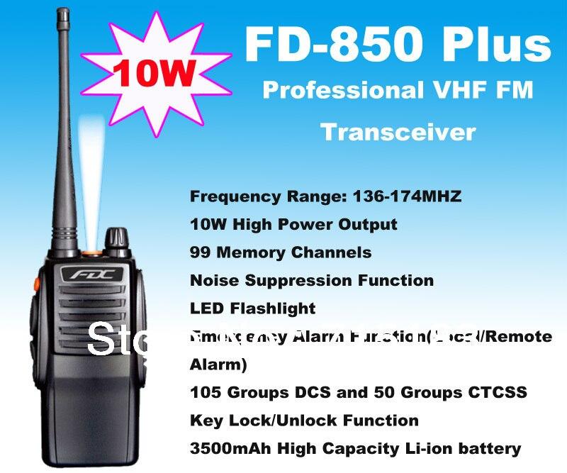 10W walkie talkie High Output Power FD-850 Plus 10Watt VHF 136-174MHz Professional FM Transceiver