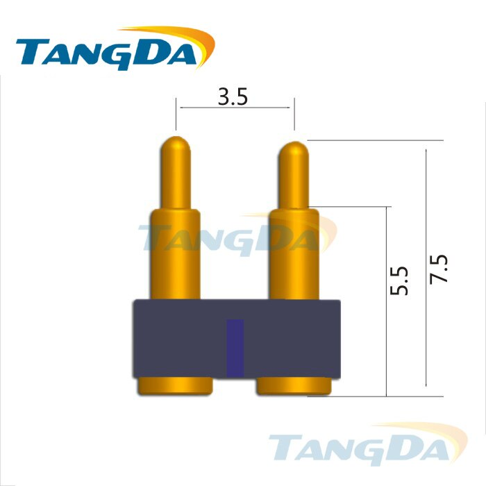 Tangda-موصل دبوس pogo ، أداة تحديد المواقع ، 2 دبابيس 2P ، ثنائي الفينيل متعدد الكلور ، مرن ، تلسكوبي ، DHL/EMS D2.0 * 7.5 مللي متر 2A