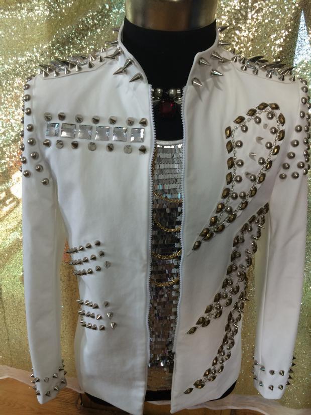 Chaqueta de talla grande para hombre con remaches de cristal blanco para espectáculos de moda para hombre, chaqueta decorada para cantante, Bar, discoteca, de DJ Fiesta, ropa, abrigo, disfraces