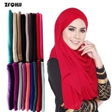 ZFQHJJ Muslim Headscarf 180*85cm Arabian Soft Polyester Rectangle Long Scarf 30 Colors Muslim Hijab Scarf Women Head Coverings