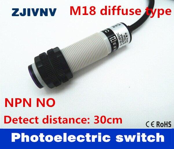 Фотоэлектрический выключатель M18, диффузный, отражающий, NPN, NO DC, 3 провода, с регулируемым расстоянием 5-30 см, регулируемым G18-3A30NA