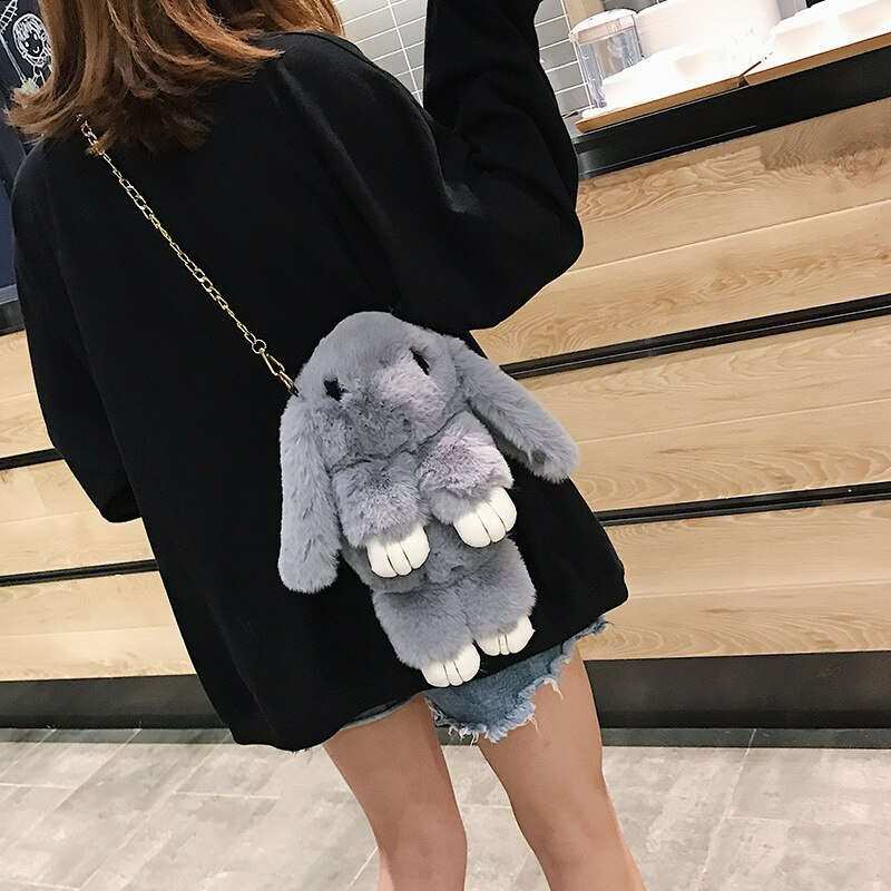 Cute Plush Rabbit Backpack 33cm Fashion Girl Fur Cape Hare Wool Chains Handbag Women's Casual Plush Dead Eyelash Messenger Bag