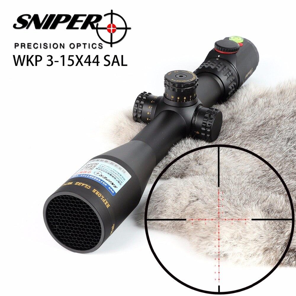 SNIPER WKP 3-15X44 SAL Rifle de caza alcance lateral paralaje Ajuste de vidrio grabado retícula RG iluminado con nivel de burbuja