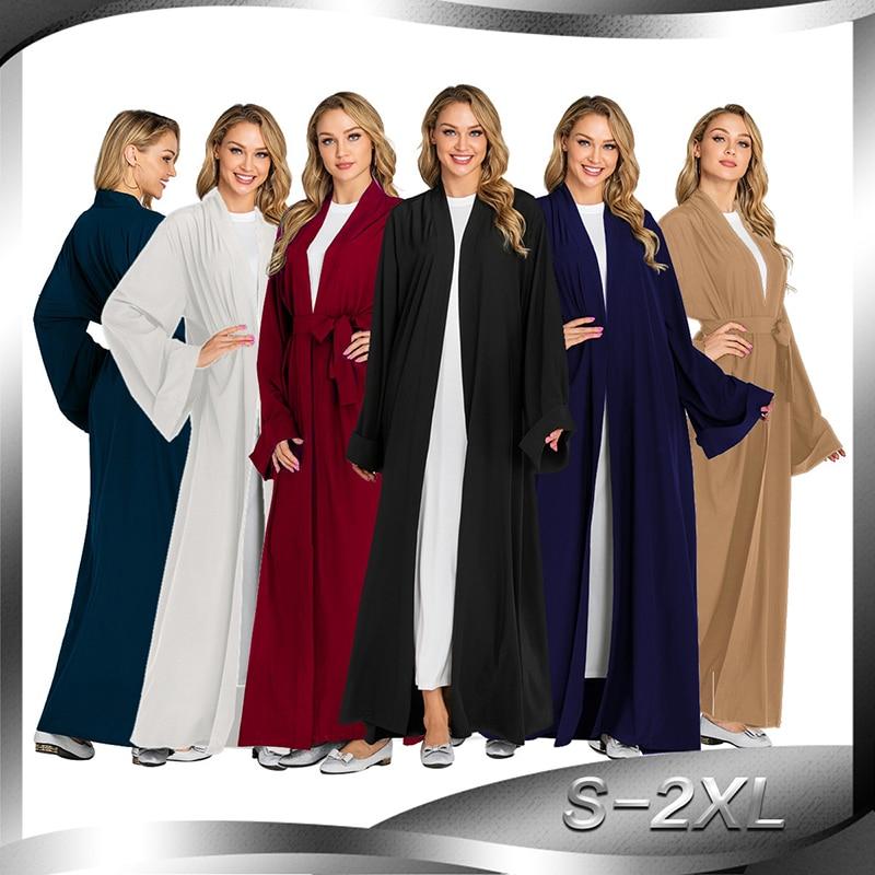 Одноцветное цветное кимоно Открытое платье Дубая исламский, мусульманский платье Хиджаб Jilbab Абая для женщин халат Caftan турецкий ислам ic одежда